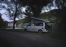 Camper van during a fishing trip