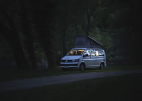 Camper van during fishing holidays