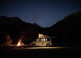 Night in a rental camper van